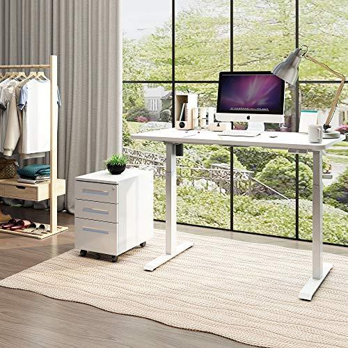 SANODESK EZ1 Elektrisch Höhenverstellbarer Schreibtisch mit Tischplatte 120 * 60cm2-Fach-Teleskop, mit Kollisionschutz, Memory-Steuerung und Softstart/Stop Funktion (Weiß) …
