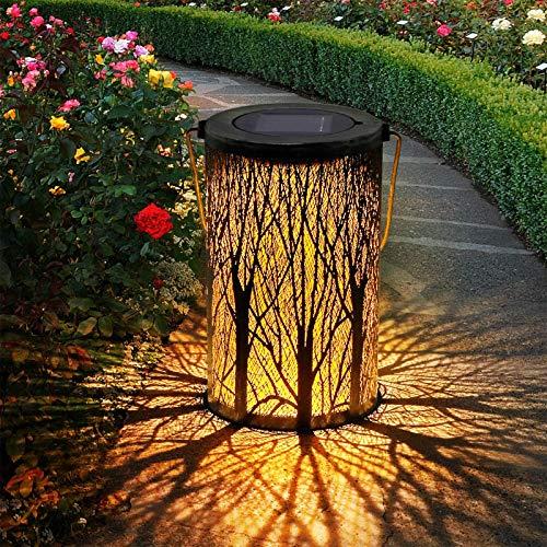 Farolillos para exterior, farolillos solares para jardín, hierro, retro, IP44, resistente al agua y protección solar, lámpara LED solar decorativa para jardín, terraza, patio (20 x 12 cm)