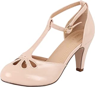 bdd2d0e9084b Chase   Chloe New Kimmy-36 Women s Teardrop Cut Out T-Strap Mid Heel