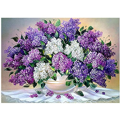 5D DIY Diamond Painting by Number Kit Purple Flower Square Drill,70x50cm Adults and Kids Full Drill Beads Crystal Rhinestone Embroidery Cross Stitch Supplies Arts Craft for Home Wall Decor U4102