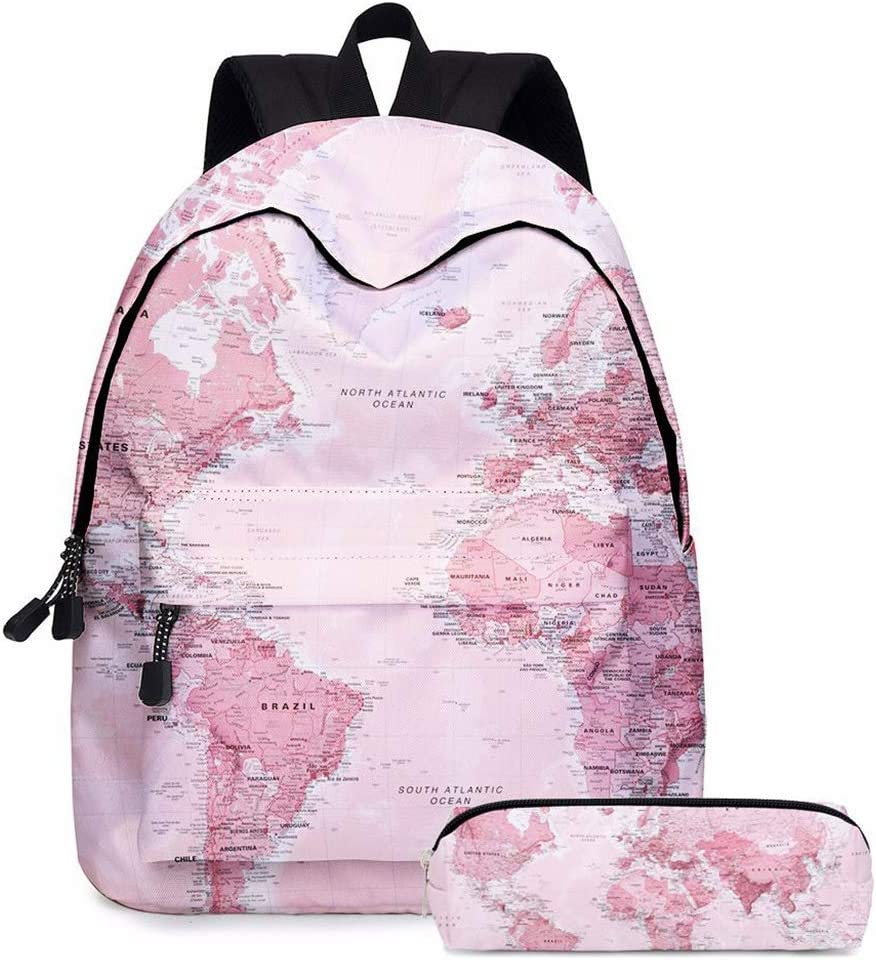 2pcs World Map Printing Backpack Girls Bookbag Laptop Bag Travel Daypack Student Rucksack with Pencil Case with Blue