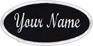 Oval Name Patch Uniform Work Shirt Custom Embroidery Hook Fastener, Iron, Sew on