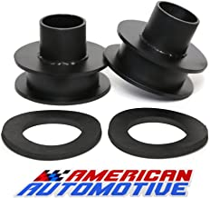 American Automotive F250 F350 Superduty Front Leveling Lift Kit 4WD Made in USA 'Road Fury' Carbon Steel Coil Spring Spacers (Set of 2) (3 Inch, Black)