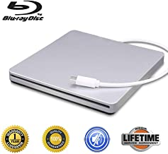 External Blu-Ray DVD CD Drive Type-C 3D Blu-ray DVD Player Portable USB 3.0 DVD/CD-ROM Burner Writer Rewriter BD-ROM for Laptop Desktop Notebook PCDVD (Silver)