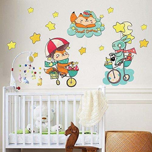 wall art R00352 Stickers muraux pour Enfants imprimé sur papiers Peints Petits Animaux à vélo