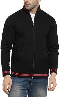 AWG Men's Navy Blue High Neck Sweatshirt Jacket with Zip - Black -