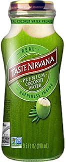 Taste Nirvana Real Coconut Water, Premium Coconut Water, 9.5 Ounce Glass Bottles (Pack of 12)