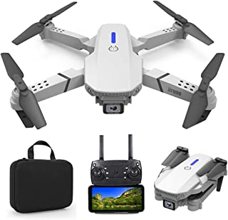 Foldable Mini Drone with 4K Double HD Camera Dual Lens 2.4G WiFi FPV RC Quadcopter (White) Gesture Control with Carry Case...