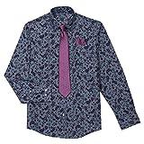 Steve Harvey Boys' Big Shirt and Tie Set, Dark Blue Paisley, 8