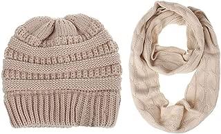 Scarfs Hat for Women & Men Hot Sale,deatu Clearance Knit Infinity Scarf Beanie Hat Set Winter Warm Scarves Hats Sets