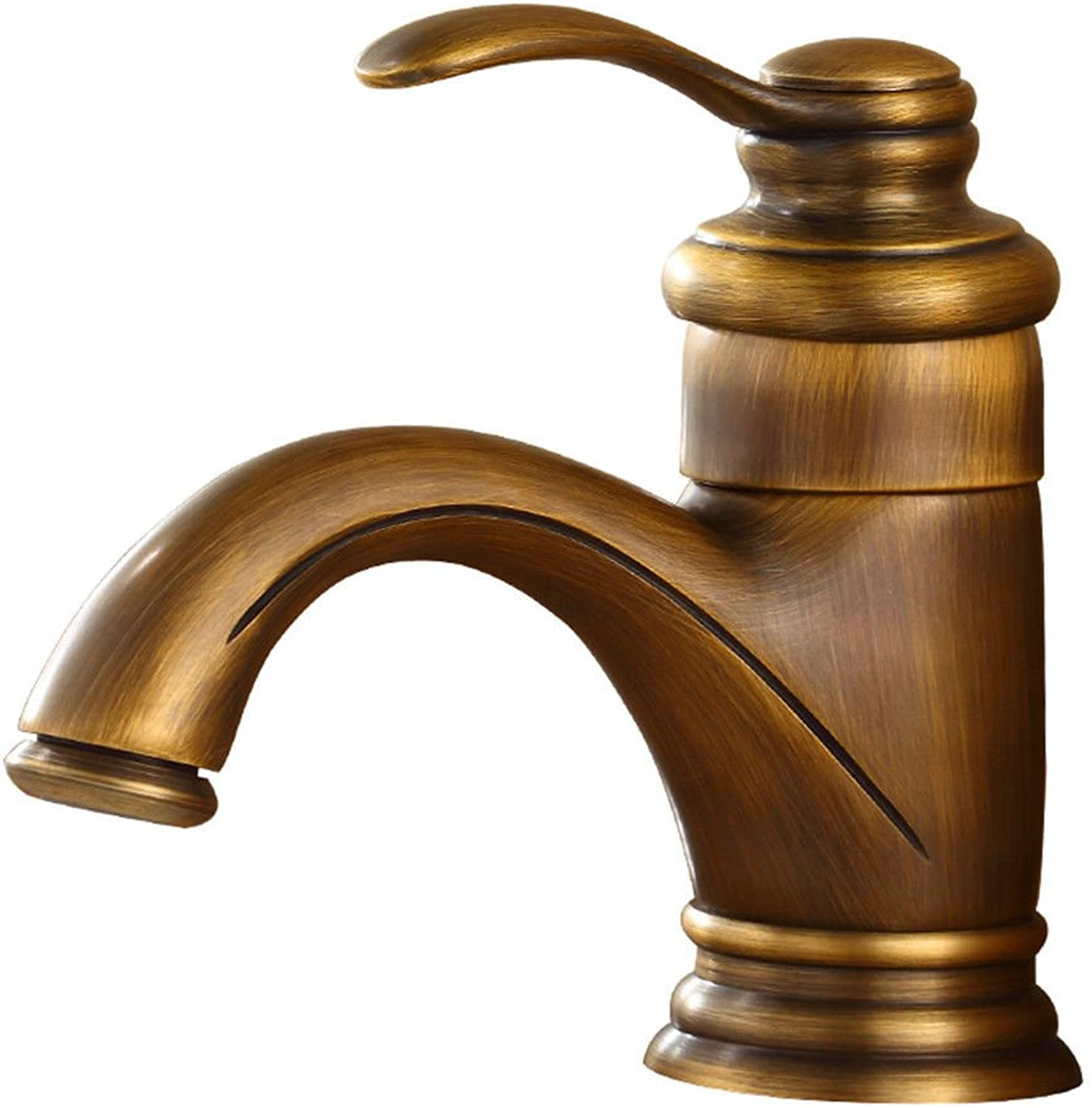 Lalaky Taps Faucet Kitchen Mixer Sink Waterfall Bathroom Mixer Basin Mixer Tap for Kitchen Bathroom and Washroom Antique Copper Hot and Cold Water Retro