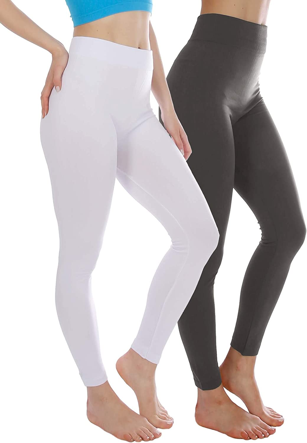 2 Pack Winter Warm Fleece Lined Thick Brushed Full Length Leggings Thights (One Size fits S M L)