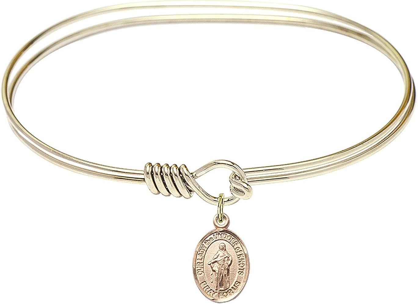 DiamondJewelryNY Eye Hook Bangle Bracelet with a O/L The Undoer of Knots Charm.