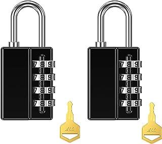 (2021 Newest) 2 Pack Combination Padlock, 4 Digit Resettable Security Padlock with Keys, Waterproof Gate Lock for School, ...