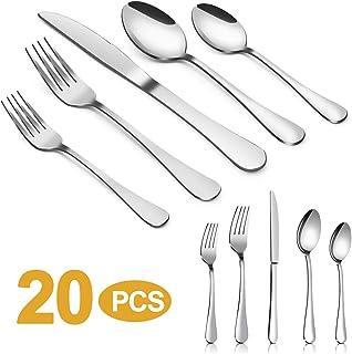 Silverware Set,MASSUGAR 20-Piece Silverware Flatware Cutlery Set, Stainless Steel Utensils Service for 4, Include Knife/Fork/Spoon, Mirror Polished (20-Piece)