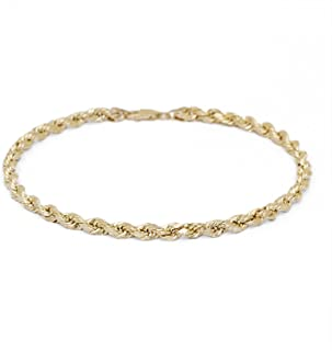 10k Yellow Gold Solid Diamond Cut Rope Chain Bracelet and Anklet for Men & Women, 4mm (0.16