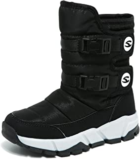 GUBARUN Boys Snow Boots Winter Waterproof Slip Resistant Cold Weather Shoes (Toddler/Little Kid/Big Kid)-3M Black 3