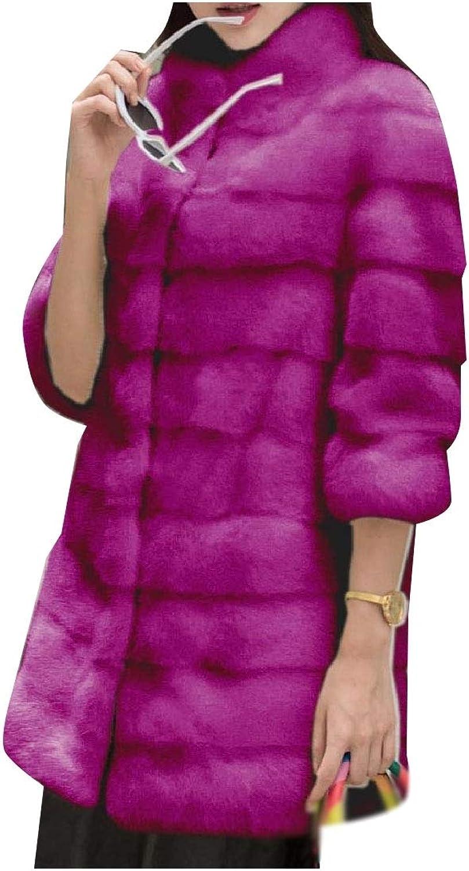 Abetteric Women Slim Fluffy Classics Wedding Fashion Faux Fur Coat Jacket