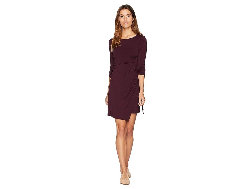 Susana Monaco Ruched Overlay Long Sleeve Dress (Bordeaux) Women