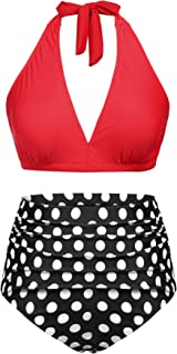 c9003bbfa7d IN'VOLAND Plus Size High Waisted Swimsuits for Women Halter Neck Vintage 2  Piece Bathing