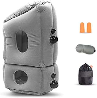 JIETU Inflatable Travel Neck Pillow,Portable Head Neck Rest Pillow,Ergonomic and Portable Head Neck Rest Pillow with Sleep...