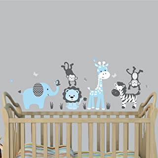 Mini Baby Blue, Jungle Animal Wall Decals, Jungle Stickers for Boys, Monkey Stickers
