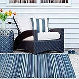 RM Design Indoor & Outdoor Teppich für Terrasse, Balkon & Haus, Blau Gestreift Muster, 90 x 180 cm - 5