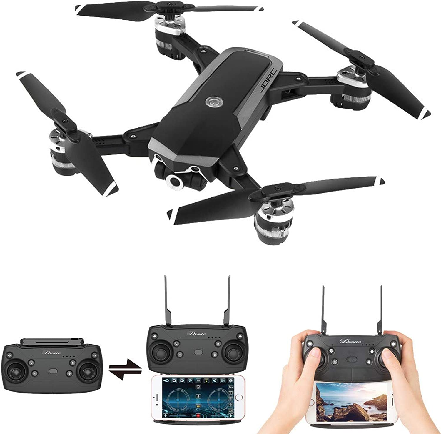 IGEMY JDRC WiFi FPV RC Quadcopter Foldable Remote Control Drone 720P 4 Channel 0.3 2MP with Wide Angle HD Camera (A)