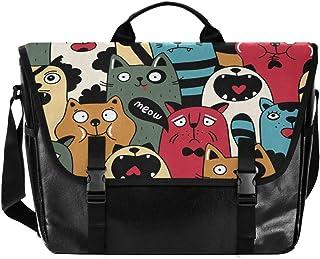 Bolsa de cartero de lona de dibujos animados para gatos, unisex de 15,6 pulgadas, retro, para negocios, bolso de hombro, b...