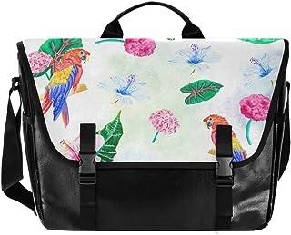 YYYJIA Brieftasche aus Segeltuch mit Blättern und Aquarell-Papageien, Unisex Laptop, Retro-Umhängetasche, Aktentasche, Schultertasche, Handtasche