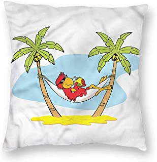 HouseLook Beach Decorative Square Throw Pillow Cases Hammock Palm Tree Shade Protectors Cushion Covers for Sofa 16 x 16 Inch