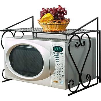 Warmiehomy Rack de Horno de Microondas, 55×43,5×36cm Estante de Microondas, Estante de Metal para Horno de Cocina, Estable - Negro