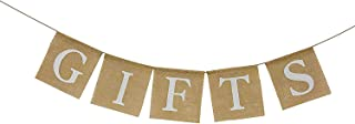 Rustic Burlap Gift Banner Bunting Sign for Baby Shower ,Engagement ,Wedding ,Bridal Shower ,Bachelorette ,Retirement ,Birthday Party Supplies