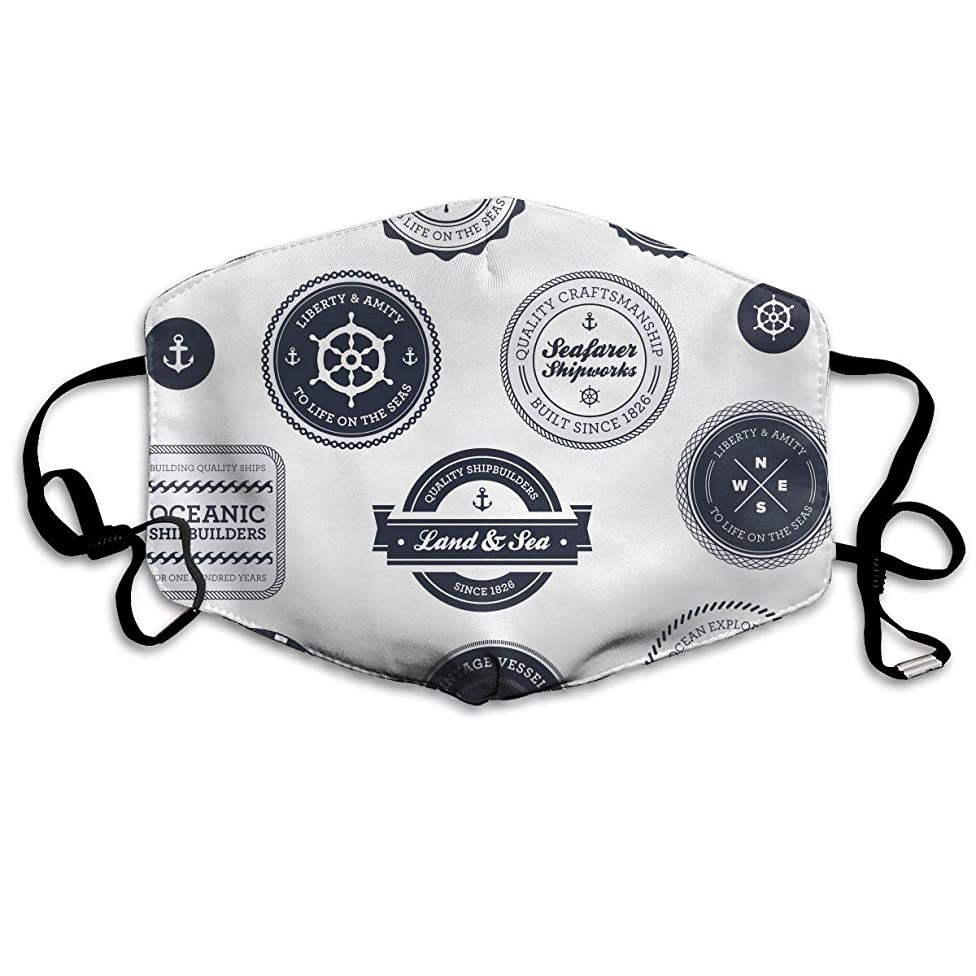 VTWG Retro Nautical Label Washable Reusable Safety Mask, Stylish Polyester Adolescent Couple Dust-Proof Adjustable Earrings
