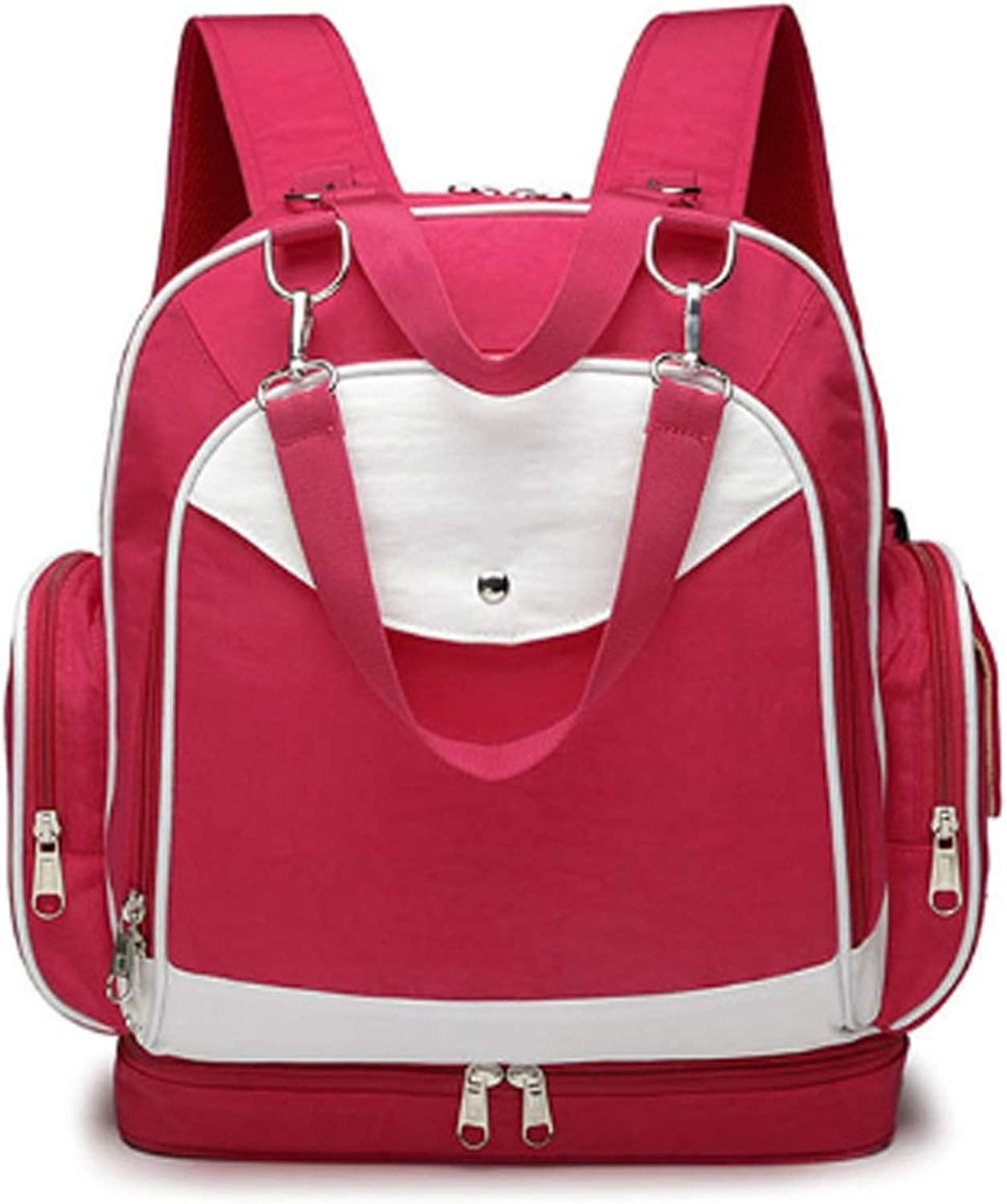Diaper Bag Backpack with Stroller Straps Baby Diaper Backpack for Women, Men, with Bottle Pack (color   Red)