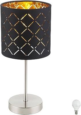 Luxus Tisch Leuchte Kristall Glas Wohn Zimmer Textil Lese Lampe  schwarz gold