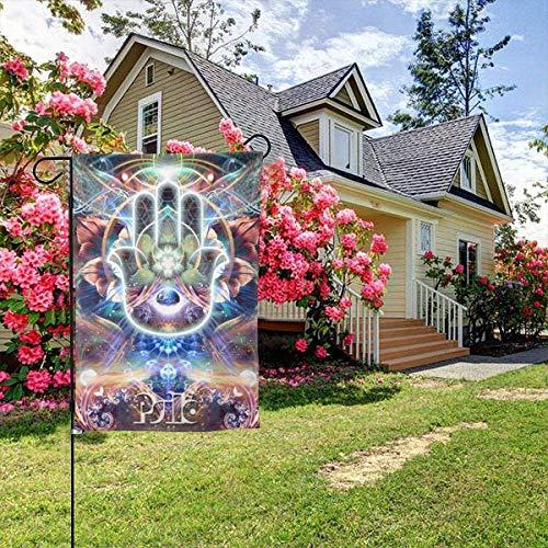 Cy-ril Hamsa Hand Fatima Glaube Zen Buddhismus gedacht Willkommensparty Dekorationen Hausgarten Hof Dekor Doppelseitige 12,5 'x 18' Flagge