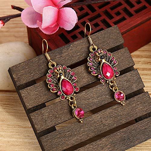 XCWXM Vintage Mujeres India Tribu Gitana Pavo Real Pendientes Boho púrpura púrpura Rhinestone aleación Gota pendientesJhumki joyería Regalos-Rojo