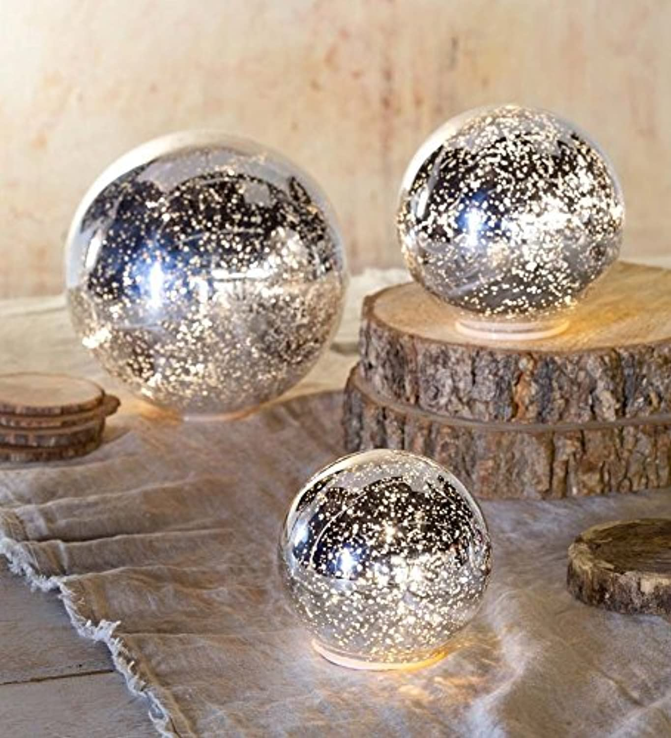Wind & Weather LT7407-SL Glass Ball Lights, Set of 3, Silver