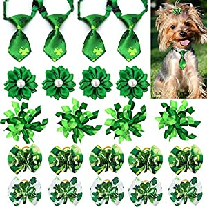 Masue Pets 20pcs Puppy Dog Ties Hair Bows for St. Patrick' s Day Lucky Green Clovers Curve Bows Puppy Dog Bows Necktie Comb Dog Grooming Accessories
