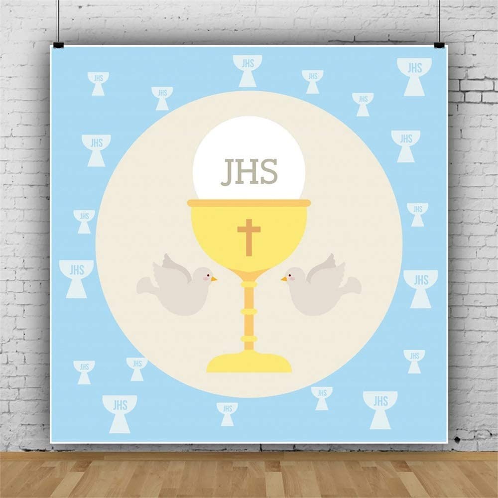 Leowefowa First Holy Communion Backdrop 10x10ft Cartoon Chalice Wafer Doves Blue Vinyl Baby Baptism Photography Background Communion Party Baby Photo Shoot Props