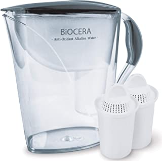 BIO CERA Alkaline Antioxidant Water Filter Pitcher (Includes 2 FREE Cartridges) BPA-Free, Toxin-Free Mineralized Alkaline Water Ionizer, Activated Carbon Filter - Up to PH 9.5