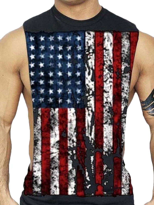 Keaac メンズアメリカンフラッグプリントアンダーウエストカジュアルベストTシャツタンクトップ