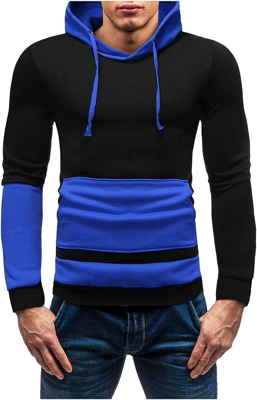 Hoodies for Men Men's Contrasting Striped Pocket Top Slim Hooded Sweatshirt Hoodie Cool Hoodies Fashion Hoodies Sweatshirts