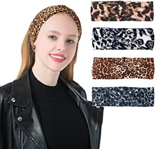 DINPREY Animal Print Leopard Headband Bandana Knot Snake Print Headbands Criss Cross Hair Band Sports Yoga Head Wrap for Womens (4 Pack Leopard Print)