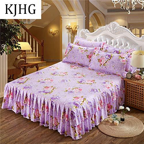 Bettrock Tagesdecke Rüschen Bett Rock Bett Volant Tagesdecke Mit Rüschen Faltenresistent Und Ausbleichen Beständig,C-200X220CM