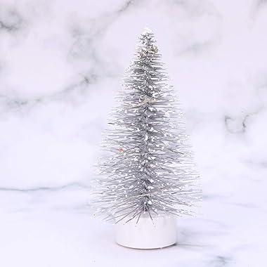 Mobestech - Mini lampada per albero di Natale con LED in argento e pino di Natale in miniatura, per feste di casa delle bambo