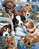 WONZOM DIY Pintura por Números Kits, DIY Pintura al óleo Dibujo Lienzo con Pinceles y Acrílica Pinturas Perros Lindos 16 * 20 Pulgadas Sin Marco