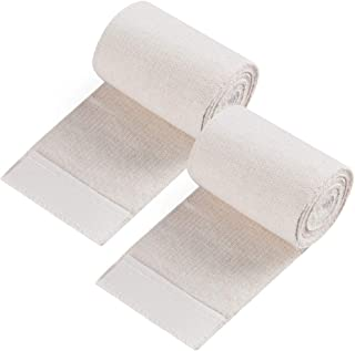 Cotton Elastic Bandage Wrap,  (3 Inches Wide x 15 Feet),  2 Rolls Compression Bandage with Hook-and-Loop Closure on Both Ends,  Latex Free for Wound Care,  Swelling,  Sprained Ankle