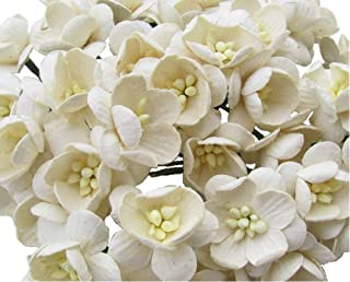RATREE SHOP 50 Pcs Cherry Blossom Ivory Mulberry Paper Flower 25 mm Scrapbooking Wedding Doll House Supplies Card Project, Products From Thailand.